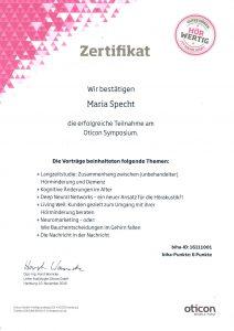 Zertifikat von Maria Specht für die Teilnahme am Oticon Symposium 2016